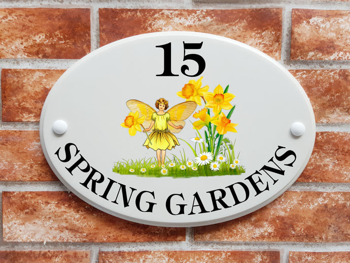 daffodil fairy house plaque