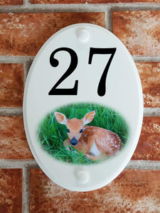 Deer fawn picture house number plaque - House Sign Shop