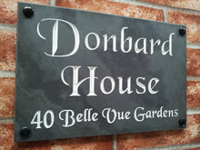 Solid slate house name sign / address plate  300mm x 200mm - House Sign Shop