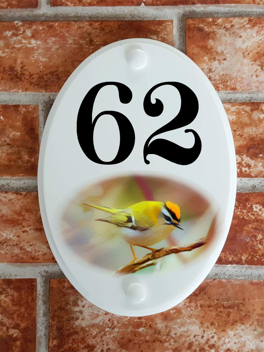 Firecrest bird house number sign - House Sign Shop