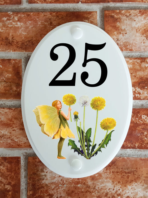 Flower fairy dandylion house number plate - House Sign Shop