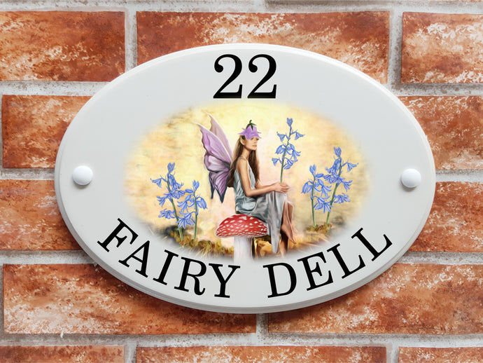 fairy with flowers house plaque
