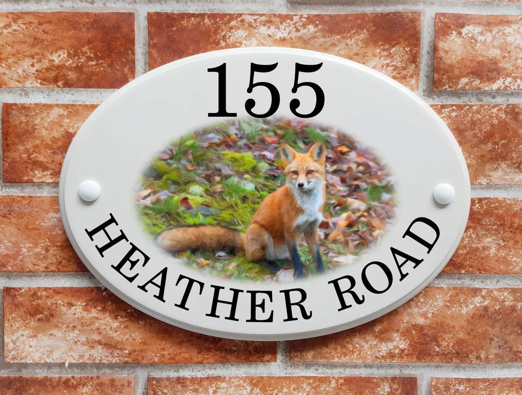 Fox in hollow house name/address sign - House Sign Shop