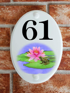 Frog on lily pad house number sign - House Sign Shop