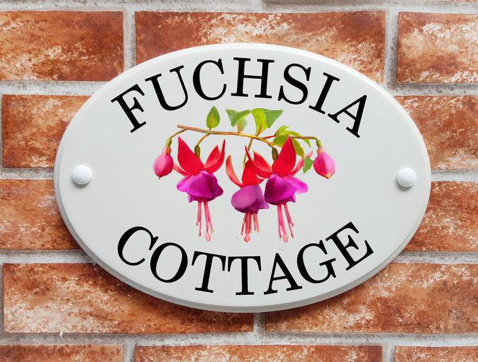 Fuchsia flowers pictorial house sign