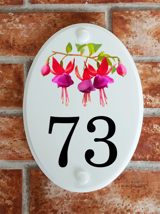 Fuchsia flowers pictorial house number plaque
