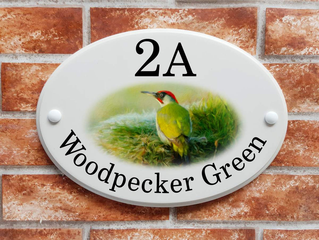 Green Woodpecker motif house name and address sign - House Sign Shop