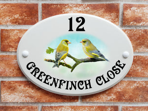 Greenfinch birds decorative house sign - House Sign Shop