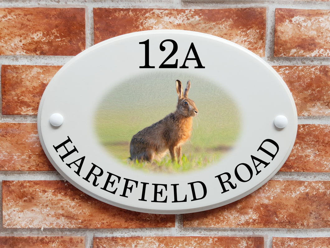 Hare decorative house sign - House Sign Shop