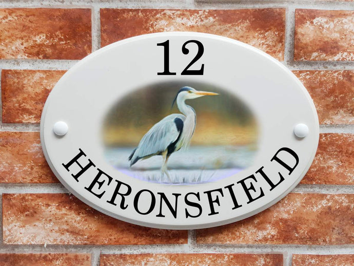 Grey heron house plaque - House Sign Shop