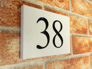 White engraved 2 digit house number sign  140mm x 100mm x 12mm - House Sign Shop