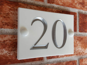 White engraved 2 digit house number sign  140mm x 100mm - House Sign Shop