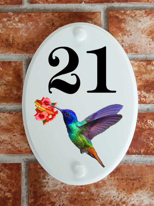 Hummingbird house number plate - House Sign Shop