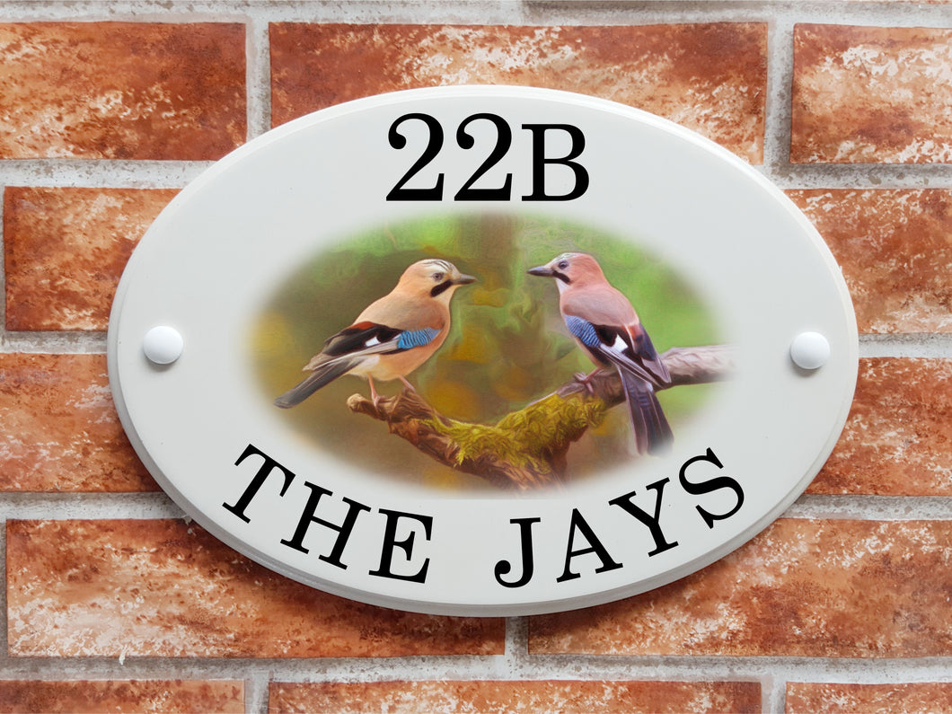 Jay Birds motif house name and address sign - House Sign Shop