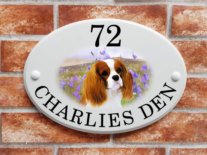 King Charles Spaniel Dog house plaque - House Sign Shop