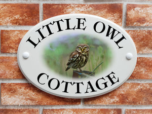Little Owl motif house name and address sign - House Sign Shop