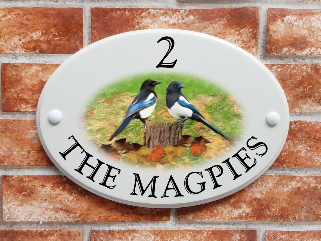 Magpies motif house name and address sign - House Sign Shop