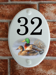Mallard Ducks house number sign - House Sign Shop