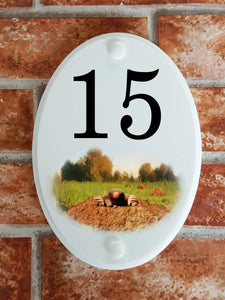 Mole house number sign - House Sign Shop