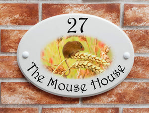Mouse in wheat field - House Sign Shop