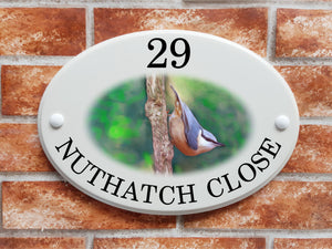 Nuthatch bird house plaque - House Sign Shop