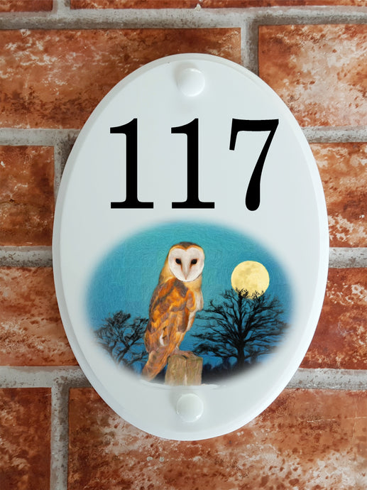 Owl door number plate - House Sign Shop