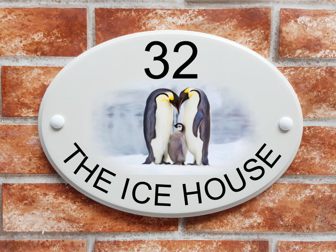 Emperor Penguins house plaque - House Sign Shop