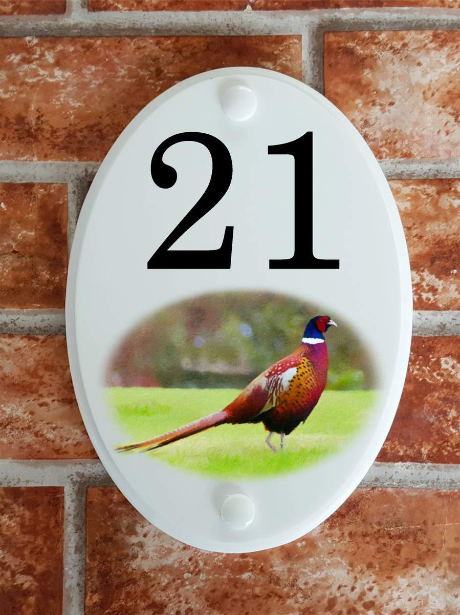 House number plate with male pheasant picture - House Sign Shop