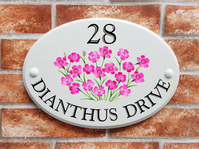 Dianthus pinks flowers house plaque - House Sign Shop
