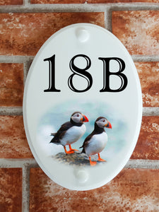 Puffins house number plate - House Sign Shop