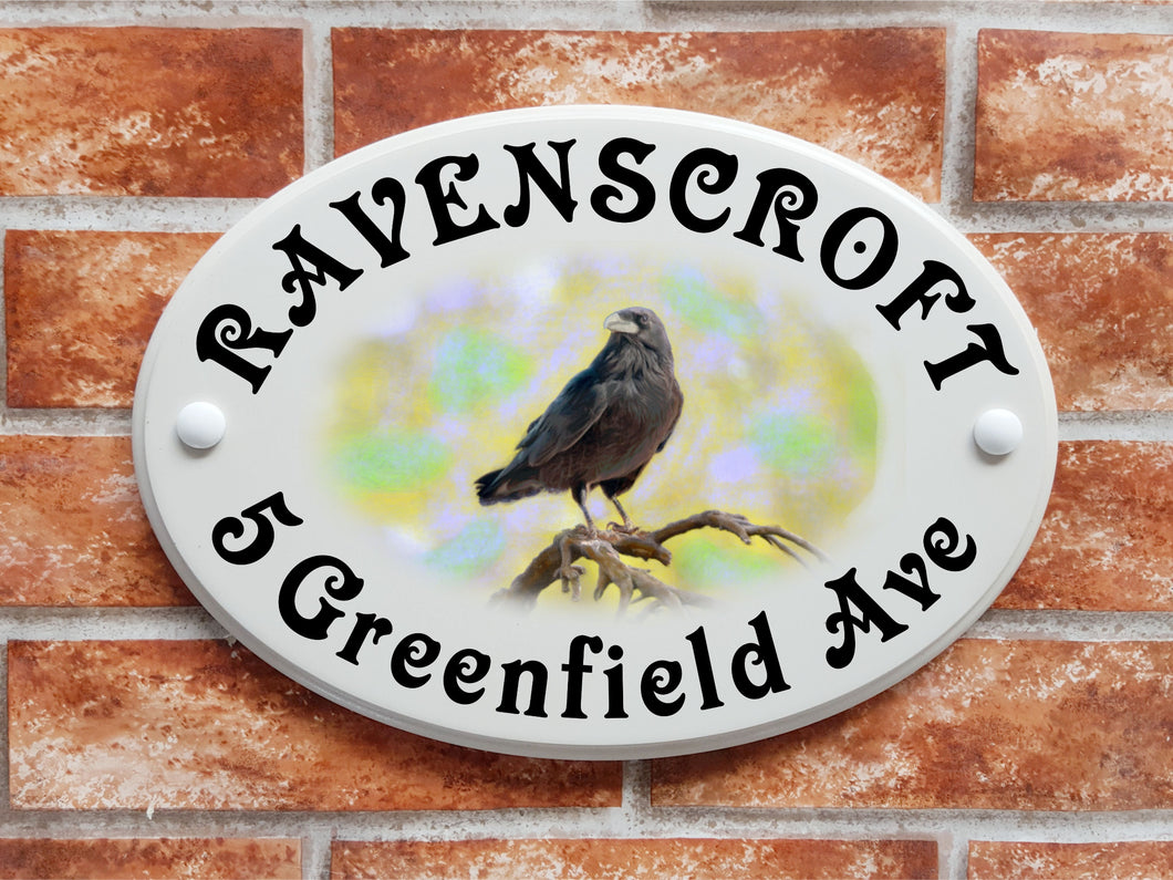 Raven bird motif house sign