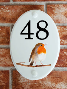 Robin house number plate - House Sign Shop