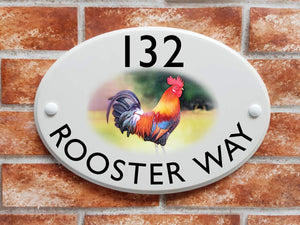Farmyard rooster house plaque - House Sign Shop