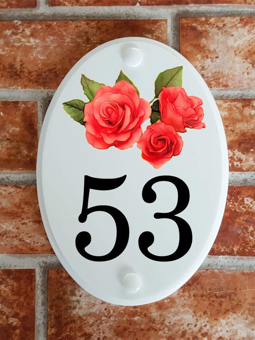 House number plate with pink roses picture - House Sign Shop
