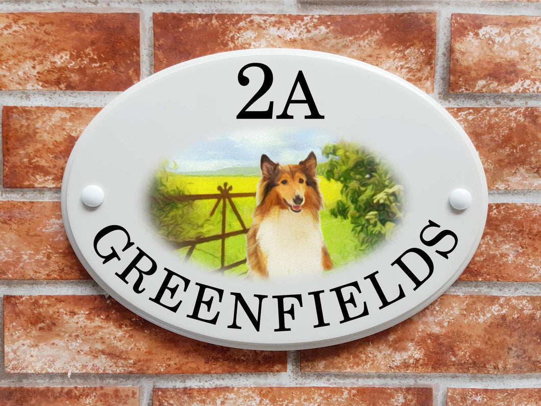 Rough Collie Dog House Sign - House Sign Shop