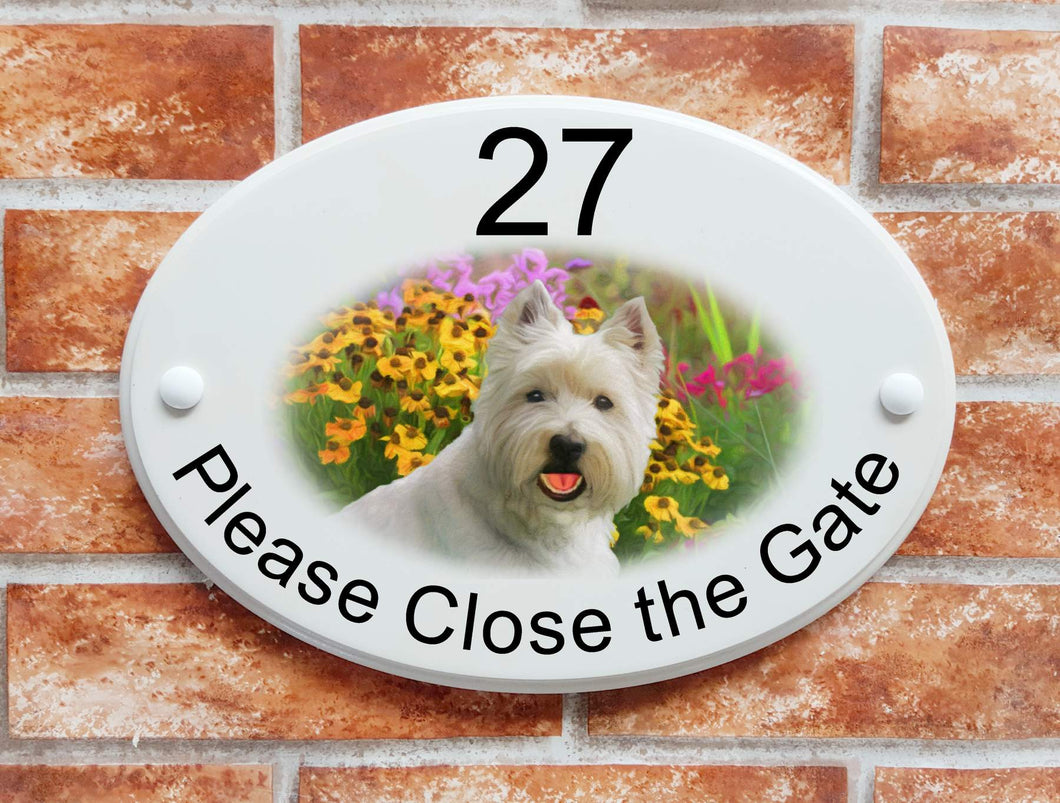 Westie dog and flowers - House Sign Shop