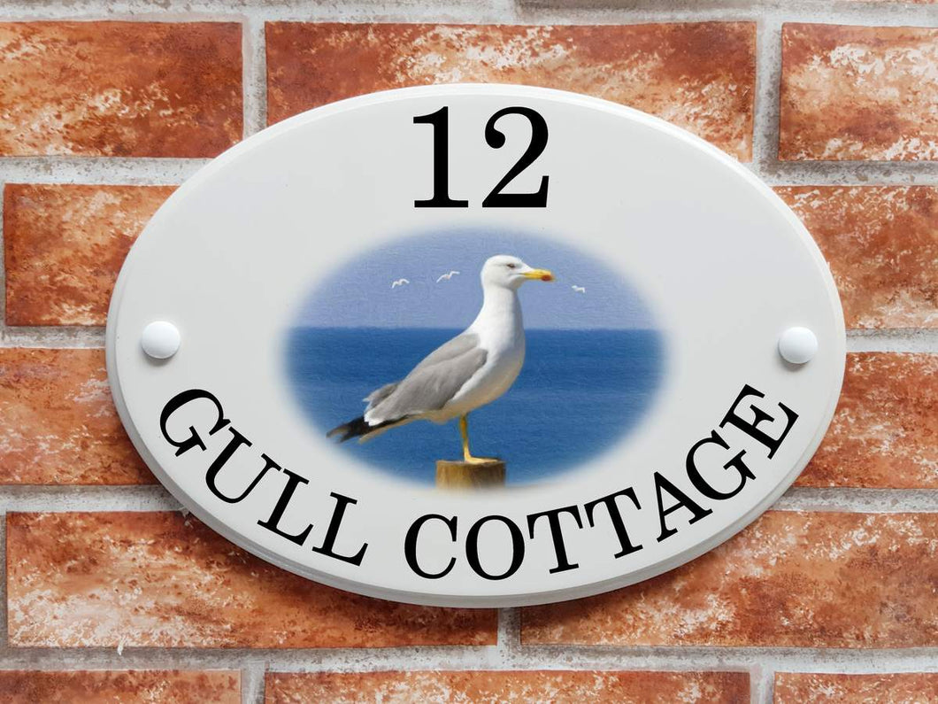 Seagull bird home address plaque - House Sign Shop