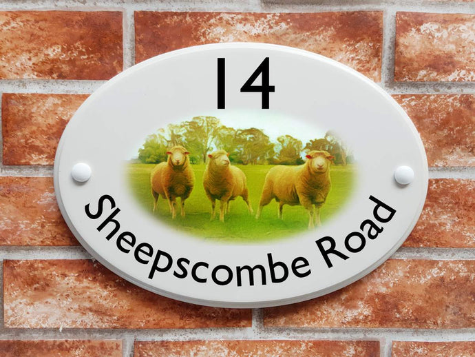 Sheep in meadow design house address plaque - House Sign Shop