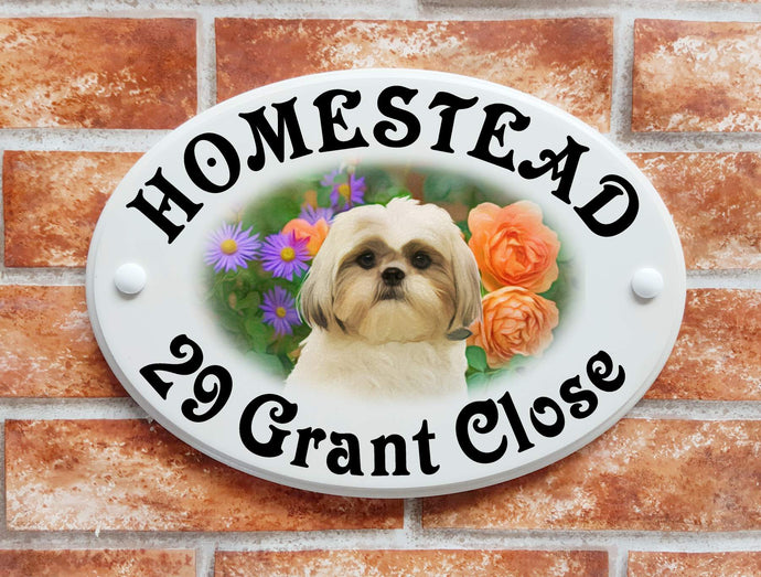 Shih Tsu dog and flowers sign - House Sign Shop
