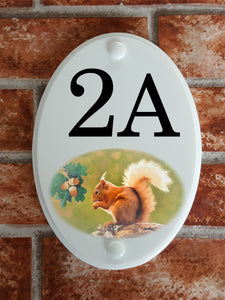 Red Squirrel house number sign - House Sign Shop