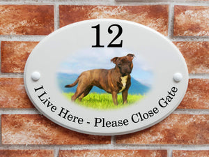 Brindle Staffy dog on a grassy field house sign - House Sign Shop