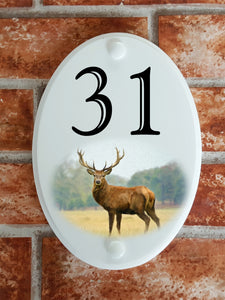 Stag deer image house number sign - House Sign Shop