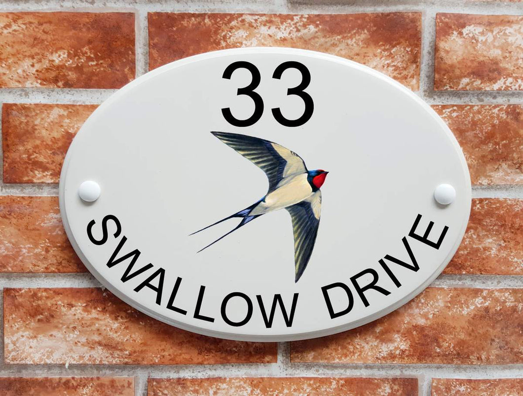 Swallow motif house name and address plaque - House Sign Shop