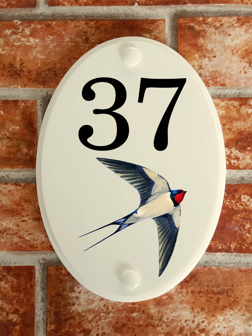 Swallow house number plate - House Sign Shop