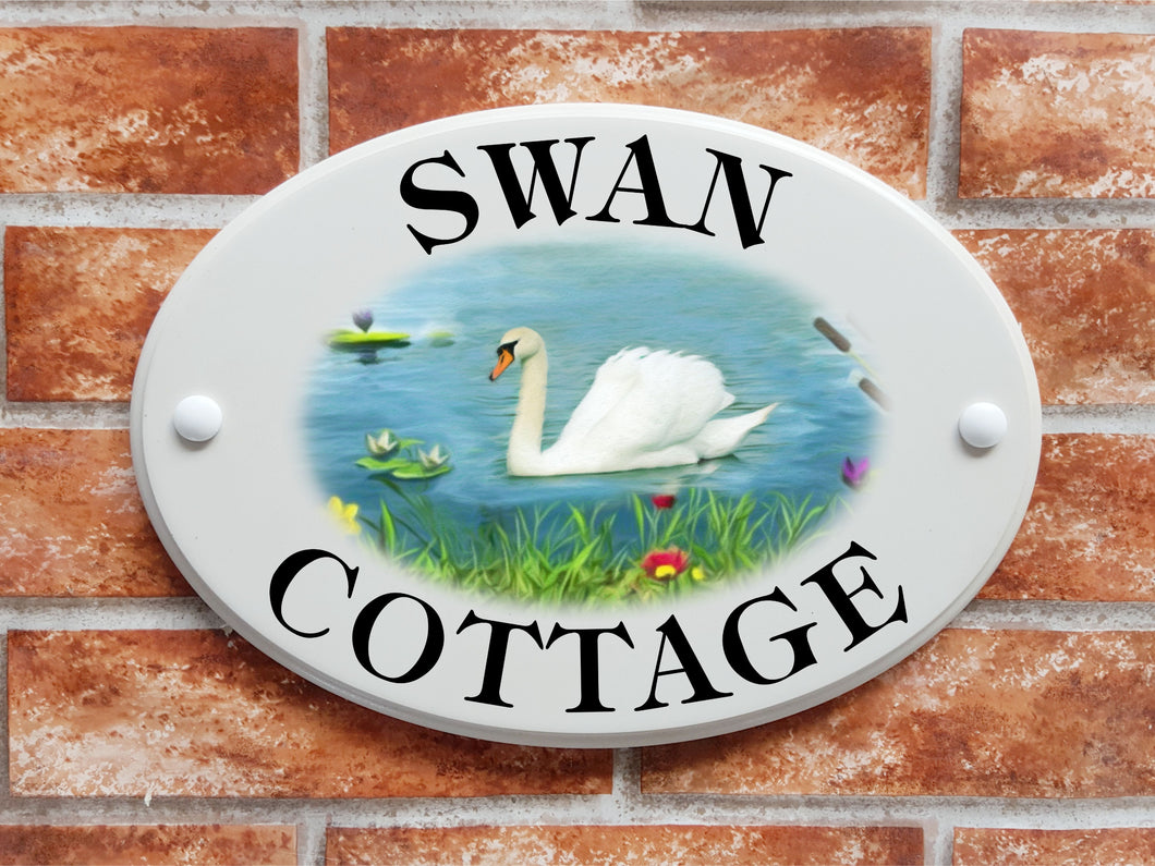 Swan pictorial house name and address sign - House Sign Shop
