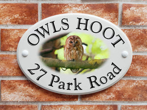 Tawney owl perched on tree sign - House Sign Shop