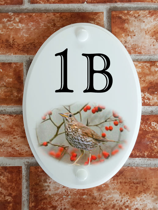 Song Thrush house number sign - House Sign Shop