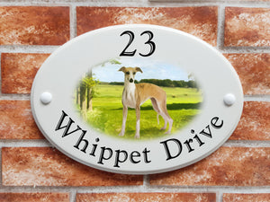 Whippet dog breed decorative house sign - House Sign Shop