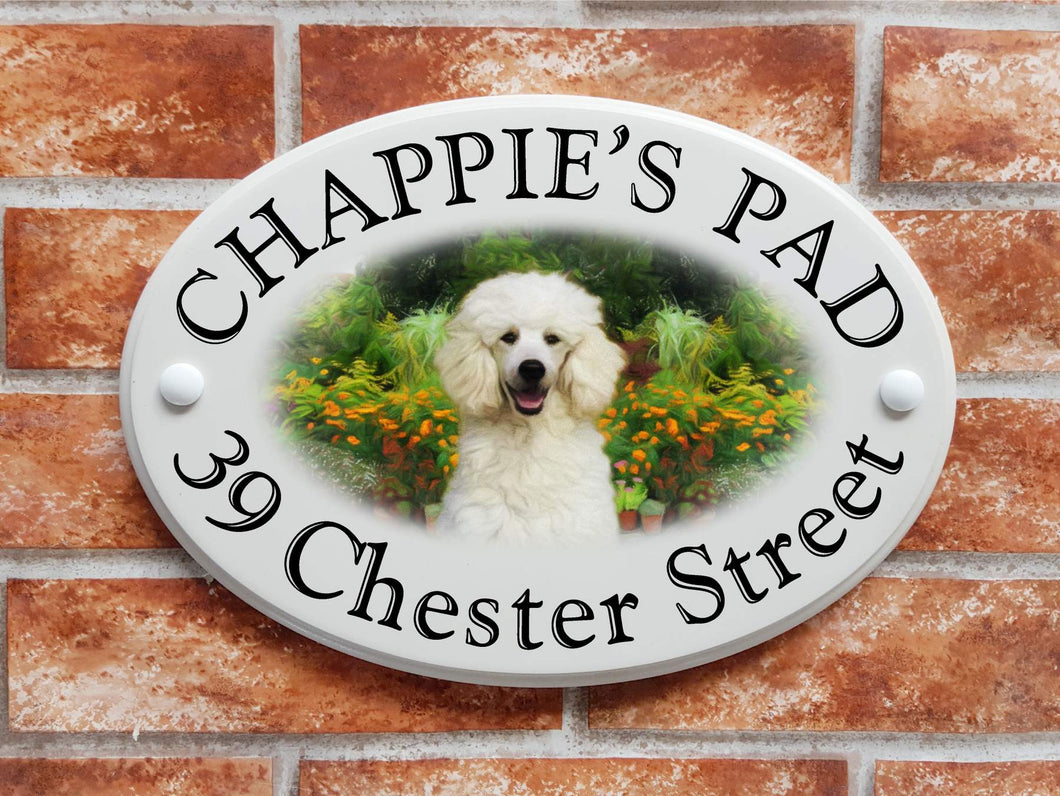 White poodle house plaque - House Sign Shop