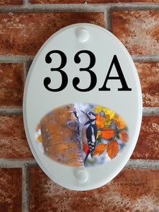 Woodpecker house number sign - House Sign Shop